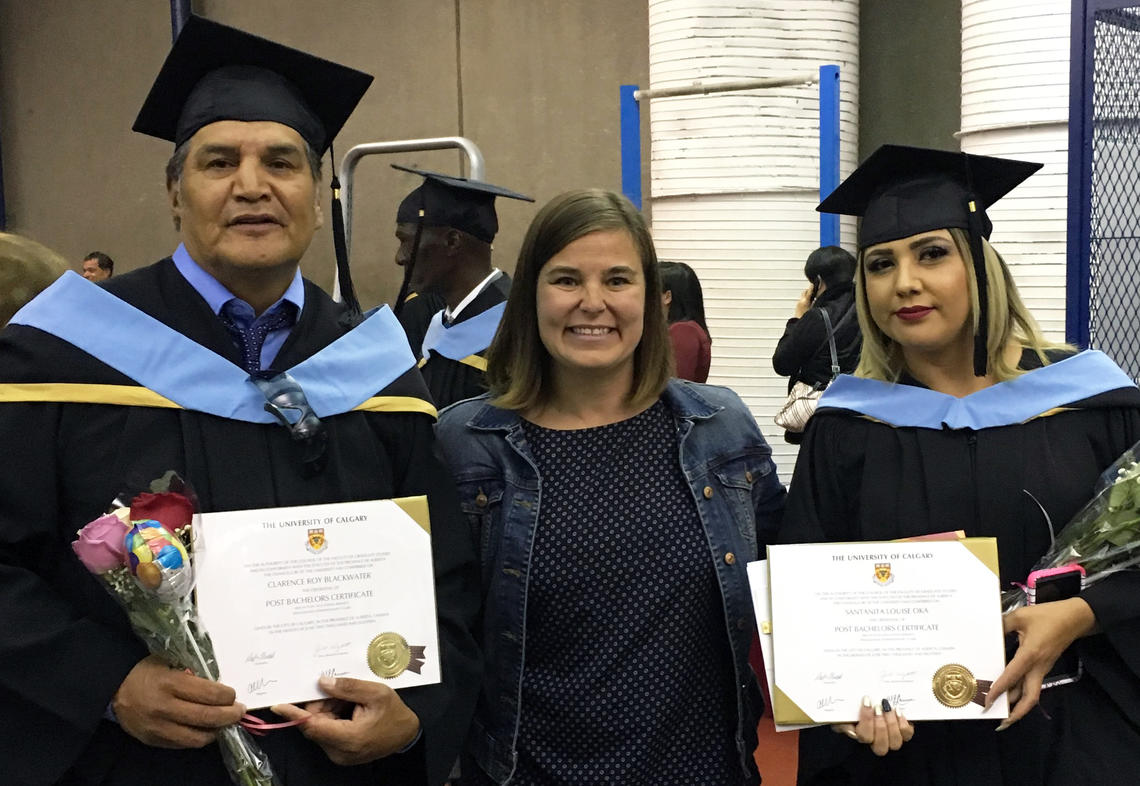 Lisa Llewellyn celebrates the convocation of Clarence Roy Blackwater and Santanita Louise Oka during their 2018 convocation