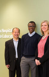 Investigating the effectiveness of the ketogenic diet led researchers at the Cumming School of Medicine to develop a new drug screening method to discover drugs to treat epilepsy. From left: Pediatric neurologist Dr. Jong Rho, postdoctoral fellow and the study's first author Kingsley Ibhazehiebo, and neuroscientist Deborah Kurrasch.